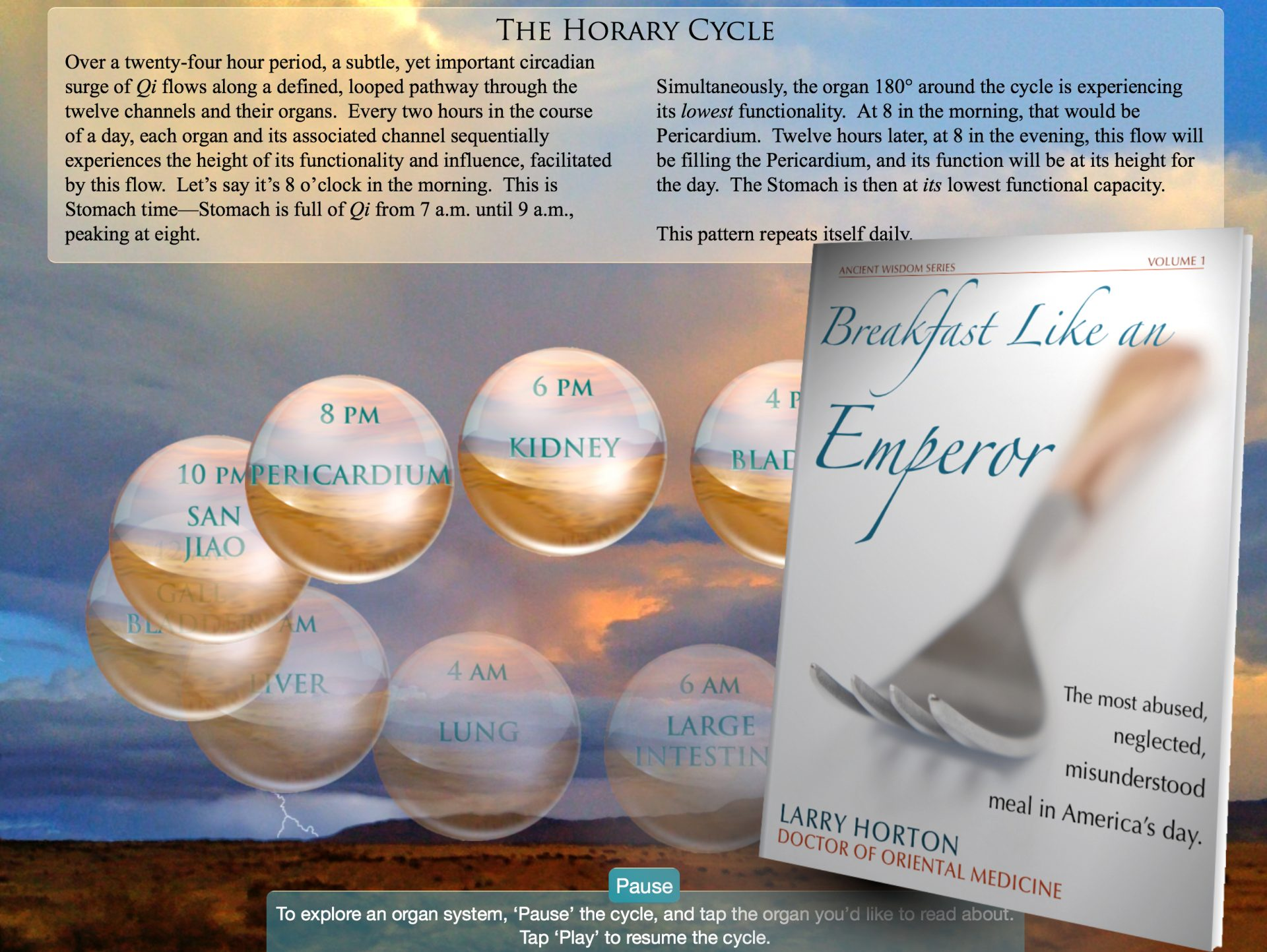 The book cover of Breakfast Like an Emperor is pictured against a background of an image from the Horary Cycle animation, which includes twelve translucent globes representing each of the twelve organs and channels in the body. The globes are circling in a precise order, at regular intervals, on a well-defined orbit.